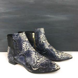 Calvin Klein snake print ankle boots navy